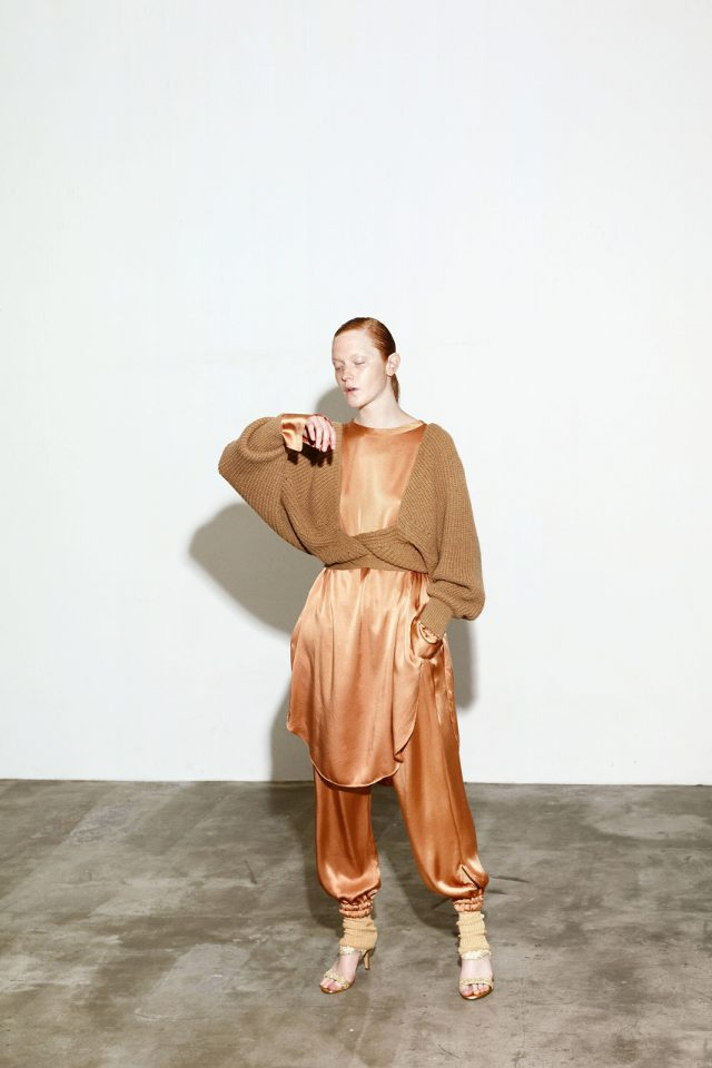 <h6>KNIT 095 & 092_CAMEL<br /> TUNIC 004 & PANTS 088_MAGNOLIA-RED CLAY</h6>